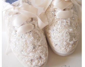 Wedding Bridal Tennis Shoes Sneakers Flats - chic ivory or white lace - vintage shabby inspired - eyelet trim - embellished diva