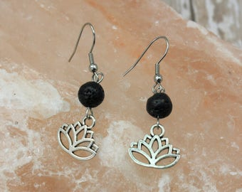 Lotus Essential Oil Earrings - Aromatherapy Earrings - Diffuser Earrings - Lava Stone Earrings - Lotus Earrings - Yoga Diffuser Earrings