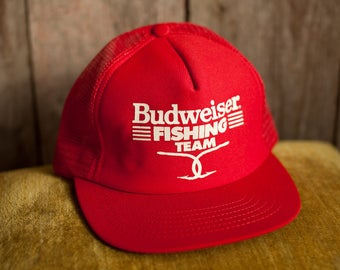 Vintage BUDWEISER FISHING TEAM Trucker Hat - red snap back