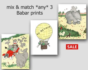 Babar the Elephant Prints (Nursery Art, Baby Wall Decor) Mix and Match, Set of 3 - SALE
