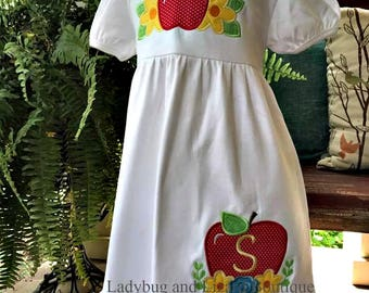 Girl's Apple with Flowers Double Ruffle Short Sleeve Dress with Monogram Sizes 12M-18M, 2T-5T, 6