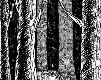 FINE ART PRINT: Giclée Print, Ink Drawing, Wolf Artwork, Animal Prints, Forest Animals, Inktober, Wall Art, Home Decor