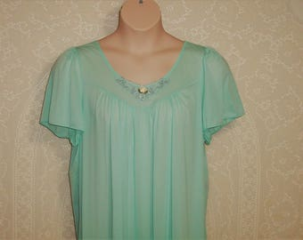 Size Large -  Nightgown by Vanity Fair - Lingerie  - Nightie - Aqua - 100% Nylon - Knee Length - Made in USA