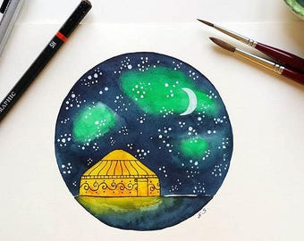 Original Watercolor painting art illustration Yurt tent Camping Glamping Stars Starry sky Moon