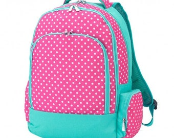 Pink Dottie Backpack * Monogrammed FREE * / Large Girls Backpack / Personalized Backpack / Back to School Gear / FREE Personalization