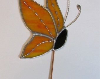 Orange, Yellow Swirled Opalescent Stained Glass Side View Butterfly- Plant/Garden Stake Decorative Soldering Accents - Twisted Wire Antenna