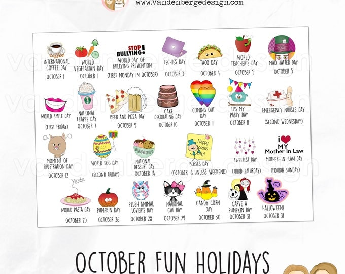Planner Stickers - October Fun Holidays - Perfect for all planners! Wacky Holidays