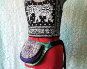 Colorful tribal green hand dyed tie dye upcycled fanny pack/utility belt