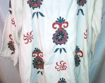 "80s Vintage Embroidered Heavy Gauze Caftan-Tunic-Plus Size-1X-50"" Bust-Hipster Hippie Chic Boho Folk Festival India"