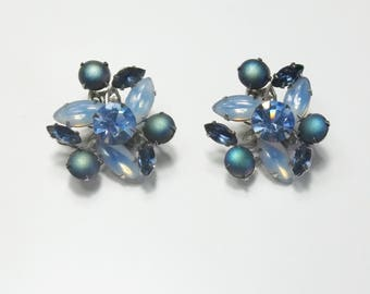 Vintage 1950's Cobalt Blue Pale Blue Navette Rhinestone Multi Stones Hollywood Glamour Costume Jewelry Clip Earrings Gift For Her