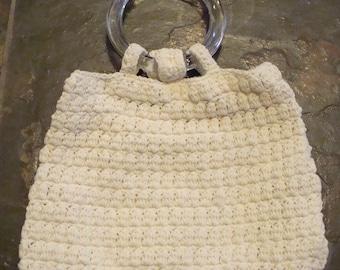 IVORY CROCHET glass bangle BAG clear handles