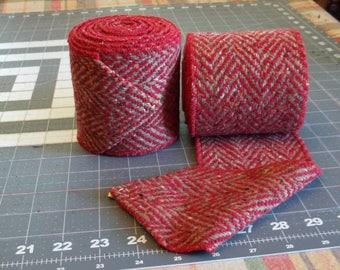 Red and Beige Herringbone Wool Winingas - Viking Leg-Wraps