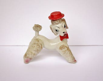 Vintage Retro 1950s Mid Century Hand Decorated White Porcelain Poodle with Red Hat and Bow