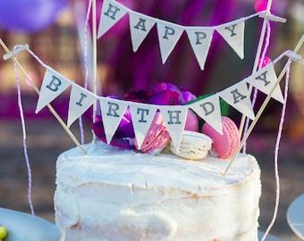 Happy Birthday Cake Topper Banner, Birthday Cake, Bunting