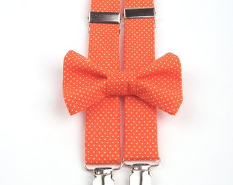 Orange Polka Dot Bow Tie & Suspenders, orange bow tie, orange suspenders, men's bow tie, boy's bow tie, boys's suspenders, orange polka dot