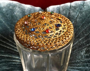 Vintage Jeweled Top Glass Jar Hazel-Atlas Vanity Jewelry Trinket Box Rhinestones