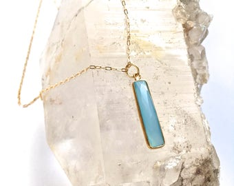 Natural Stone Pendant/Necklace - Single Stone Rectangle - Mineral Necklace- Blue Agate or Sea Green Chalcedony- Vermeil Gold 20""