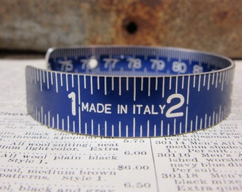 Vintage  Metal Folding Ruler Bracelet ITALY Blue Aluminum Upcycled Jewelry Industrial Steampunk Vintageum Metal Bangle Oversized Cuff