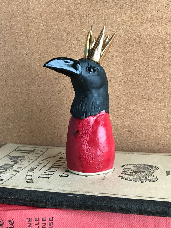 crow sculpture  - raven in red with crown - one of a kind