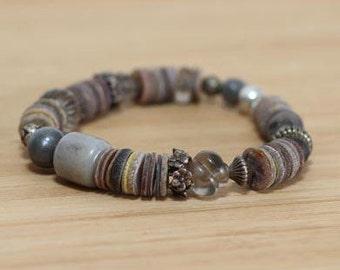 Stone and Metal Bracelet, Bracelet Set, Boho Bracelet Set, Hippie Jewelry, Boho Beaded Bracelet, Statement Bracelet, Metal and Stone