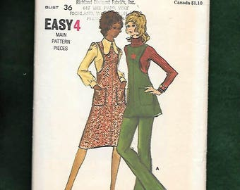 Vintage 70's Butterick6377 Misses' Tunic Top, Pants, And Jumper With Cut In Deep Arm Holes, And Patch Pockets, Size 14