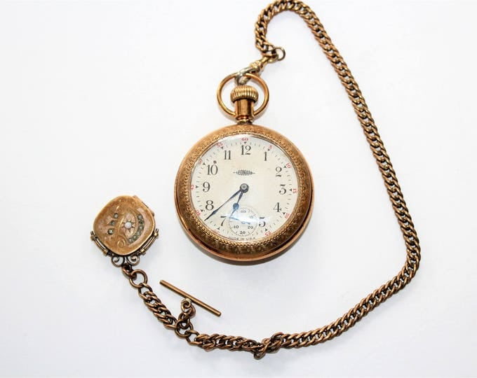 Leonard Pocket Watch with Chain and Locket Fob Antique 1908
