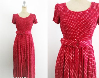 Vintage 1990s Red Polka Dot Dress 90s Polka Dot Dress Red 90s Dress 90s Dress Teacher Dress Short Sleeve Red Dress Red Midi Dress Medium 10