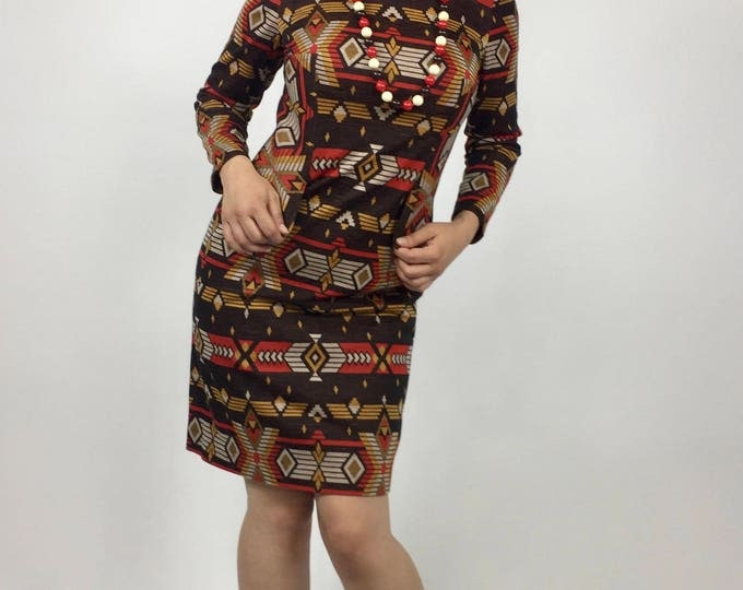 Vintage Early 70's Mod Navajo Print Knit Mini Dress - Brown, Red and Gold Medium Weight Knit - High Collar, Long Sleeves - Size 4 to 6