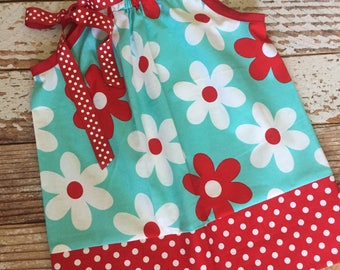Pillowcase Dress - Toddler Dress - Sun Dress - Jumper - Red and Turquoise Flowers and Polka Dots - READY TO SHIP - 2T