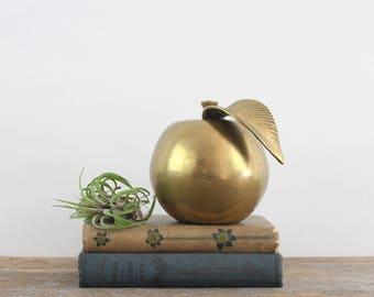 Vintage Brass Apple Paperweight - Teacher's Pet Apple Paperweight Desk Decoration