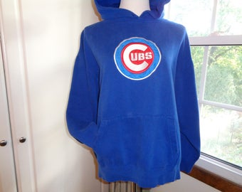 GO CUBS GO! Dynasty Brand Label Hoody with Embroidered Cubs Insignia in White Letters on a Red background to keep you warm for Fall Baseball