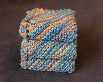 3 Hand Knitted Dish Cloths, Dish Rags, Orange, Blue, Teal, Olive Green, Cotton, Sugar'n Cream Yarn, Wash cloths, dishcloths, washcloth