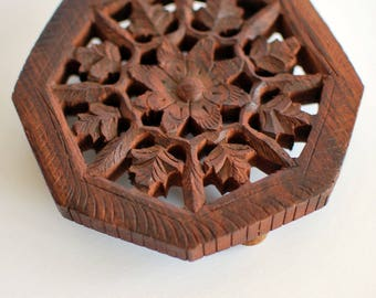 Small Carved Wood Trivet - India, Boho Style, Hand Carved, Candle Stand, Party Decoration, Wedding Table Decor