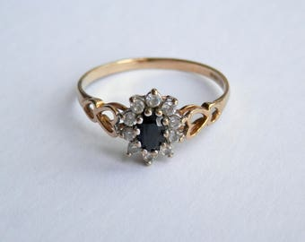 9ct Gold Vintage Sapphire & Diamond Ring, UK Size Q 1/2, US 8 1/4  Engagement Ring