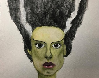 ORIGINAL SMALL 7x10 inch Halloween Bride of Frankenstein Watercolor Painting on paper // the mrs, frankenstein's bride, green, that hair