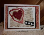 Red Heart Card, Love Card, Valentine's Day, I Love You, Vintage Quilt Heart, Music Card, Handmade Card, Mixed Media Art, Blank Card