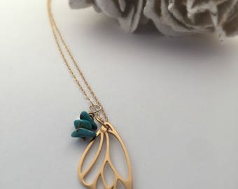 Gold Butterfly Wing Necklace/ Turquoise Butterfly Necklace/Butterfly wing jewelry/inspirational jewelry/with brave wings she flies/