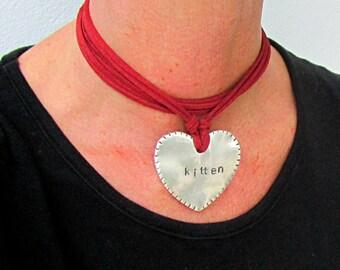 Kitten Choker, Red Leather Lace Necklace, Heart ddlg Jewelry, Lolita choker,Sexy Valentine Gift for Mistess, Kinky Wife, Girlfriend, Kitty