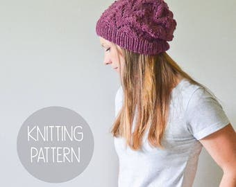 knitting pattern spring slouchy hat toque - the archer beanie