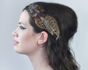 Elegant Curved Pheasant Feather Hair Clip Fascinator