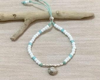 beach boho jewelry, hill tribe silver bracelet