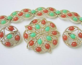 Vintage 1960s Sarah Coventry Acapulco Parure / Bracelet / Brooch / Earrings / Faux Carnelian / Faux Jade / Jewelry / Jewellery