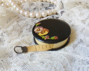 """Retractable Pansy Sewing Tape Measure, Parisian Novelty Co Celluloid Measuring Tape 48"""""""