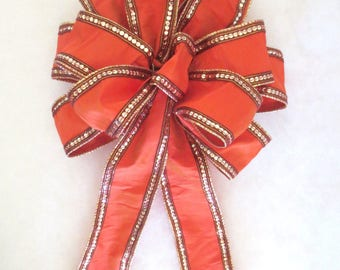 Christmas Bow or Fully Round Tree Topper Bow, Orange Bow, Autumn Bow, Christmas Bow, Tree Topper Bow