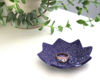 Indigo Jewelry Bowl - Handmade Ring Dish - Boho Star Pattern - Bohemian Decor - Boho Style - Modern Bohemian