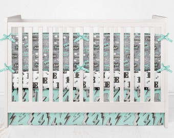 Crib Bedding Batman Superhero Comic Book Black White Gray Grey Aqua Opal Custom Fabrics Lolas Lovies baby boy Girl bedding