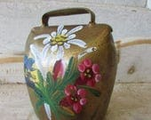 Vintage Austrian copper COW Bell souvenir with painted flowers Edelweiss, Gentian and Alpine Carnation