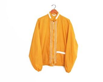 vintage windbreaker / mustard jacket / 70s windbreaker / 1970s mustard yellow thin windbreaker jacket Large