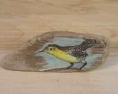 Hand Painted Bird Brooch, Vintage Wooden Bird Brooch, Swallow or Swift Bird Brooch, Vintage Driftwood Bird Pin, Animal Painted Brooch