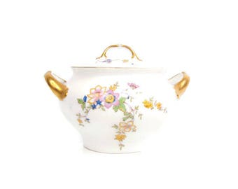 Vintage Selb H C Manchester Bavaria Germany Sugar Bowl Hand Painted Floral Heinrich and Co